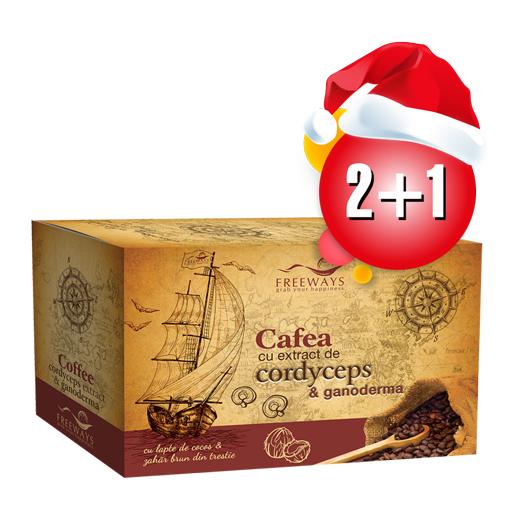 Cafea terapeutica cu extract de Cordyceps si Ganoderma 2+1